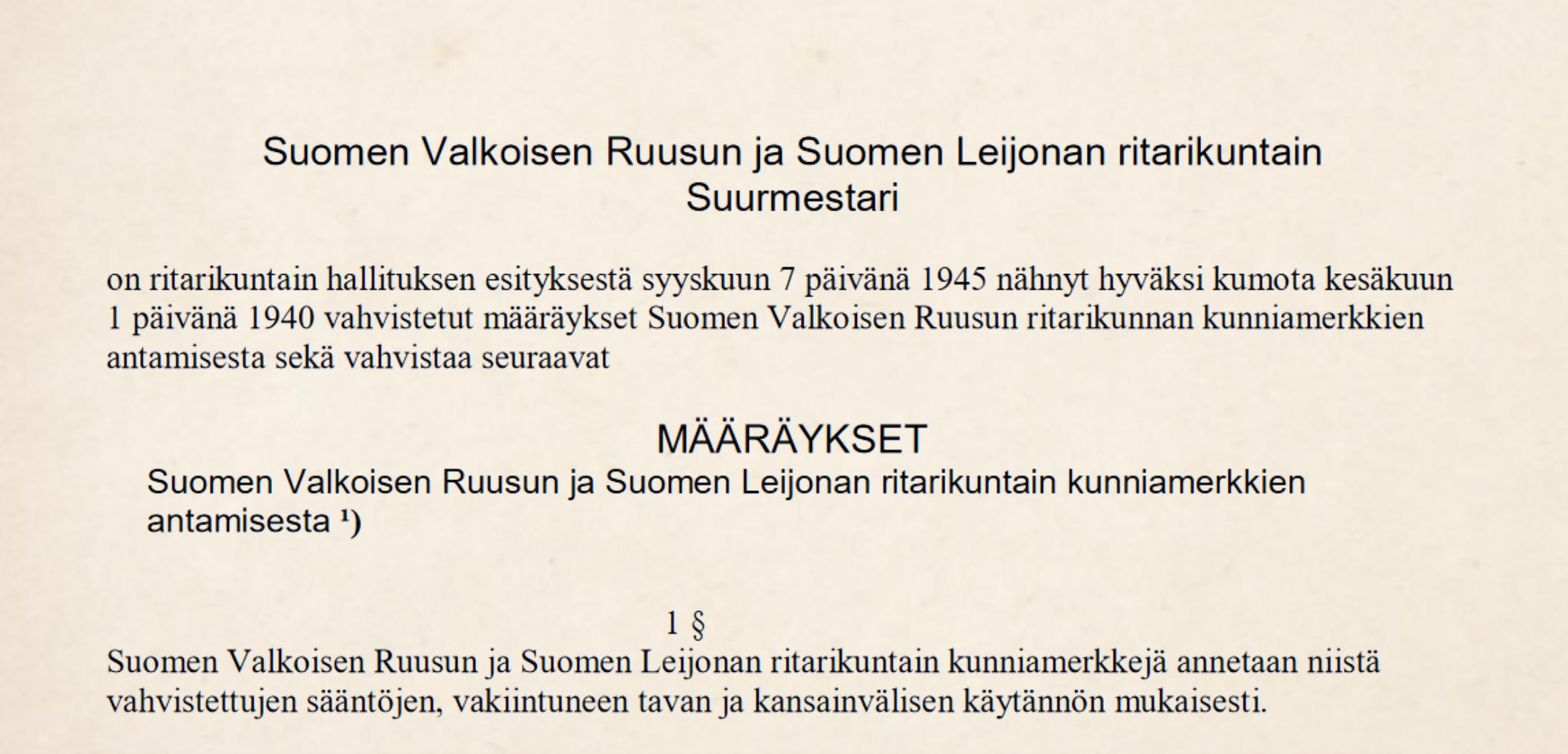 1945 Määräykset SVR:n ja SL:n kunniamerkkien antamisesta