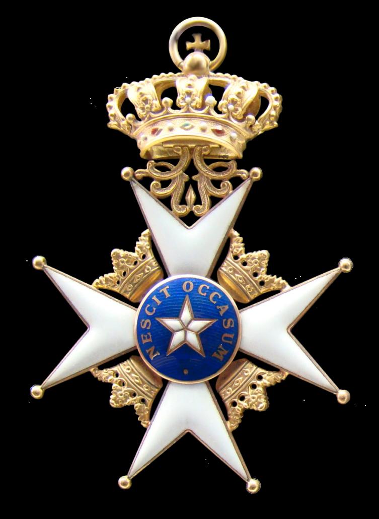Kuvassa Pohjantähden ritarikunnan risti.