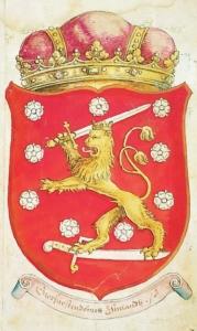 Suomen vaakuna Laurentius Petrin kronikassa 1580-luvulta.