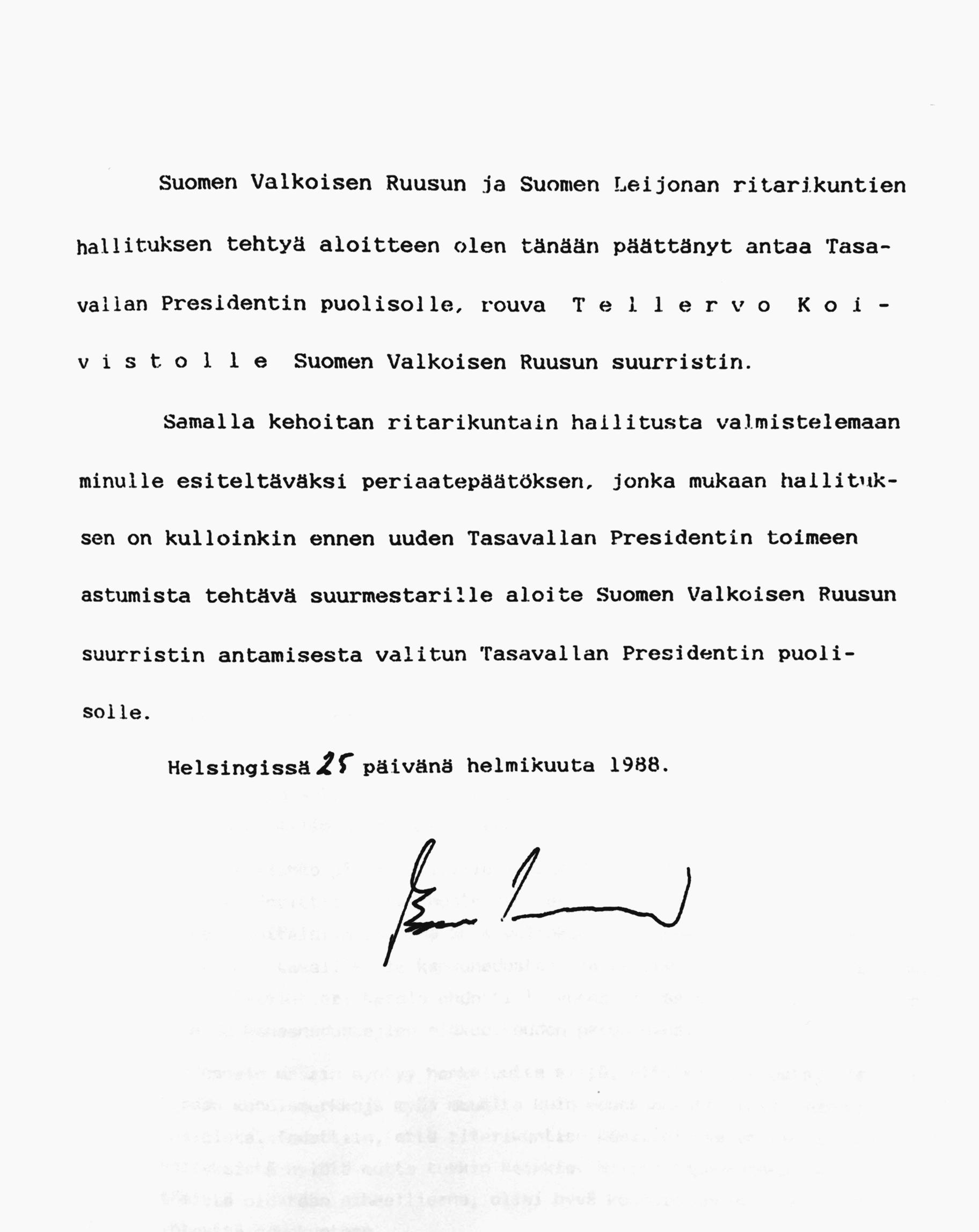Periaatepäätös jolla Tellervo Koivistolle annettiin Suomen Valkoisen Ruusun suurristi